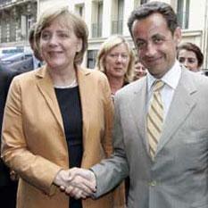 La chancelière allemande Angela Merkel et le président français Nicolas Sarkozy